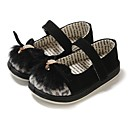 cheap Girls' Clothing Sets-Girls' Shoes Leather / Fur Spring / Fall Comfort / First Walkers Flats Rhinestone / Animal Print / Split Joint for Black