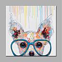 baratos Pinturas Animais-Pintura a Óleo Pintados à mão - Animais Estilo Moderno Sem armação interna / Lona Laminada