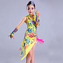 baratos Roupas de Dança Latina-Dança Latina Roupa Espetáculo Elastano Estampa Sem Manga Alto Vestido Mangas Decoração de Cabelo Calções