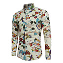 cheap Totes-Men's Party Boho Cotton / Linen Slim Shirt - Floral Print Classic Collar / Long Sleeve
