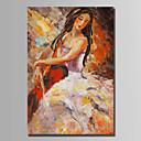preiswerte Abstrakte Gemälde-Hang-Ölgemälde Handgemalte - Menschen Abstrakt Segeltuch
