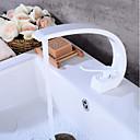 tanie Żyrandole-Umieszczona centralnie Zawór ceramiczny Pojedynczy uchwyt jeden otwór Łazienka kran zlew