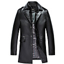 cheap Sports Support & Protective Gear-Men's Leather Jacket - Solid Colored Shirt Collar