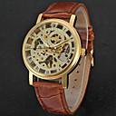 baratos Relógios Mecânicos-WINNER Homens Relógio de Pulso Gravação Oca / Legal Couro Banda Luxo / Vintage / Casual Preta / Marrom / Aço Inoxidável / Mecânico - de dar corda manualmente