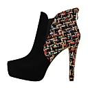 זול סנדלי נשים-בגדי ריקוד נשים נעליים דמוי עור אביב / סתיו נוחות מגפיים בוהן מחודדת שחור / שקד