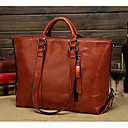 cheap Totes-Women's Bags PU Tote Zipper for Casual All Seasons Orange Yellow Brown Wine Royal Blue