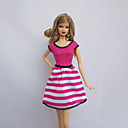 cheap Apparel For Barbie-Party/Evening Dresses For Barbie Doll Fuchsia Polyester Dress For Girl's Doll Toy