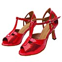 cheap Latin Shoes-Women's Latin Shoes Leatherette / PU Sandal Customized Heel Customizable Dance Shoes Red / Indoor
