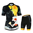 cheap Cycling Jersey & Shorts / Pants Sets-Arsuxeo Women's Short Sleeves Cycling Jersey with Shorts - Black/Yellow Floral / Botanical Bike Clothing Suits, Quick Dry, Anatomic