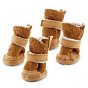 cheap Dog Clothes-Dog Boots / Shoes Snow Boots Keep Warm Fashion Solid Brown Pink For Pets