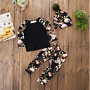 cheap Girls' Clothing Sets-Baby Girls' Hat / Floral Daily / Casual Floral / Pattern Long Sleeve Regular Regular Cotton / Acrylic Clothing Set Black / Toddler