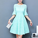cheap Nail Glitter-Women's Plus Size Cotton Sheath Dress - Solid Colored