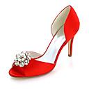 cheap Wedding Shoes-Women's Shoes Satin Spring / Summer Basic Pump Wedding Shoes Stiletto Heel Peep Toe Rhinestone / Imitation Pearl Blue / Champagne / Ivory