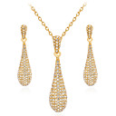 preiswerte Ohrringe-Damen Kubikzirkonia Schmuck-Set - vergoldet Tropfen Retro, Elegant Einschließen Tropfen-Ohrringe Anhängerketten Gold Für Hochzeit Party