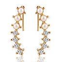 זול עגילים אופנתיים-בגדי ריקוד נשים קריסטל עגילים צמודים - זירקון מתוק, אלגנטית זהב עבור חתונה / אָהוּב