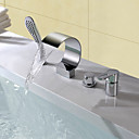 cheap Chandeliers-Bathtub Faucet - Contemporary Modern Style Chrome Widespread Ceramic Valve