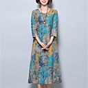 cheap Party Headpieces-Women's Chinoiserie Loose Dress - Floral Blue, Print / Summer