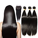 cheap One Pack Hair-3 Bundles with Closure Brazilian Hair Straight Remy Human Hair Natural Color Hair Weaves / Hair Bulk 16-20 inch Human Hair Weaves 4x4 Closure Human Hair Extensions