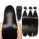 cheap Natural Color Hair Weaves-Brazilian Hair Straight Remy Human Hair Natural Color Hair Weaves 3 Bundles With  Closure 16-20 inch Human Hair Weaves 4x4 Closure Natural Black Human Hair Extensions