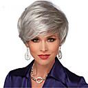 halpa Synteettiset peruukit ilmanmyssyä-Synteettiset peruukit Suora Tyyli Otsatukalla Suojuksettomat Peruukki Harmaa Hopea Synteettiset hiukset Naisten Luonnollinen hiusviiva / Sivuosa Harmaa Peruukki Lyhyt Luonnollinen peruukki