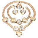 זול עגילים אופנתיים-בגדי ריקוד נשים סט תכשיטים - יהלום מדומה לב קלסי, אופנתי לִכלוֹל עגילי טיפה שרשראות מחרוזת זהב עבור Party טקס / עגילים