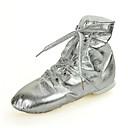 hesapli Caz Dans Ayakkabıları-Kadın's Yapay Deri Caz Dans Ayakkabıları Spor Ayakkabı / Tam Taban Düz Taban Altın / Gümüş