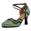 זול מגנים לטלפון & מגני מסך-נעליים מודרניות Paillette / דמוי עור סנדלים / עקבים קשתות עקב מותאם מותאם אישית נעלי ריקוד ירוק / שחור
