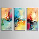 tanie Wydruki-Hang-Malowane obraz olejny Ręcznie malowane - Abstrakcja Rustykalny / Nowoczesny Płótno / Trzy panele / Rozciągnięte płótno