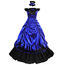 cheap Historical & Vintage Costumes-Vintage / Gothic / Victorian Costume Women's Dress / Party Costume / Masquerade Blue Vintage Cosplay Satin Sleeveless Cap Sleeve Floor Length