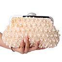 baratos Clutches & Bolsas de Noite-Mulheres Bolsas Poliéster Bolsa de Mão Detalhes em Pérolas Champanhe / Branco / Preto / Sacolas de casamento / Sacolas de casamento