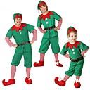 ieftine Costume de Copii-Elf Pantaloni Crăciun Dress Bărbați Crăciun Festival / Sărbătoare Costume de Halloween Verde Bloc Culoare