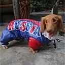 זול מוצרי חובה לטיולי כלבים-חתול כלב מעילים קפוצ'ונים סרבלים מעיל גשם בגדים לכלבים דפוס מכתב ומספר כחול polyster חומר עמיד למים תחפושות עבור חיות מחמד יום