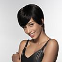 baratos Relógios da Moda-Perucas de cabelo capless do cabelo humano Cabelo Humano Liso Parte lateral Curto Fabrico à Máquina Peruca Mulheres