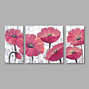 cheap Oil Paintings-Oil Painting Hand Painted - Floral / Botanical Modern Canvas / Three Panels / Stretched Canvas