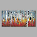 cheap Landscape Paintings-Oil Painting Hand Painted - Landscape Modern Stretched Canvas / Three Panels