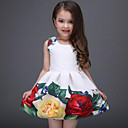 cheap Girls' Dresses-Kids Girls' Sweet Daily / Holiday Floral Print Sleeveless Polyester Dress White 3-4 Years(110cm)