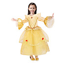 cheap Movie & TV Theme Costumes-Princess Fairytale Belle Dress Party Costume Kid's Christmas Masquerade Birthday Festival / Holiday Halloween Costumes Yellow Solid