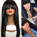 cheap Makeup Brush Sets-Human Hair Lace Front Wig Brazilian Hair Straight Wig With Bangs 130% 100% Virgin / Unprocessed Women's Long Human Hair Lace Wig