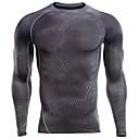 billige Joggeklær-Herre T-skjorte til jogging sport Genser - Langermet Trening & Fitness, Trening, Løp Stretch Elastisk Grå+Hvit, Grå, Mørkegrå Ensfarget