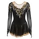 cheap Ice Skating Dresses , Pants & Jackets-Figure Skating Dress Women's / Girls' Ice Skating Dress Black Spandex Rhinestone / Appliques High Elasticity Performance Skating Wear