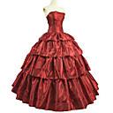 tanie Kostiumy ze starego świata-Bolerka Rokoko Wiktoriańskie Kostium Sukienka Stroje Bal maskowy Czerwony Postarzane Cosplay Tafta Krótki rękaw Pompiasty / Balonowy Do kostki Balowa
