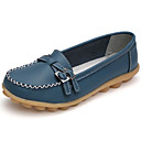 cheap Women's Slip-Ons & Loafers-Women's Shoes Cowhide Spring / Fall Comfort Loafers & Slip-Ons Flat Heel Round Toe Buckle White / Black / Light Blue