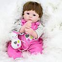 זול בובות-NPK DOLL בובה מחדש תינוקות בנות 18 אִינְטשׁ סיליקון / ויניל - כְּמוֹ בַּחַיִים, ריסים ידניים, ציפורניים אטומות וחותמות הילד של בנות מתנות / CE / עור טבעי / ראש דיסקט