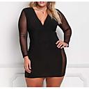 hesapli Düğün Hediyeleri-Kadın's Büyük Bedenler İnce Kılıf Elbise - Solid V Yaka Diz üstü Siyah
