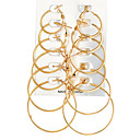 cheap Earrings-Women's Hoop Earrings Ladies Rock Oversized Earrings Jewelry Gold / Silver For Evening Party Carnival 12pcs