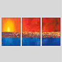 זול ציורים מופשטים-מצויר ביד מופשט פנורמי אנכי, מודרני ציור שמן צבוע-Hang קישוט הבית שלושה פנלים
