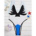 baratos Televisão-Mulheres Mergulhando Floral / Grade Nadador Azul Branco Preto Maiô Roupa de Banho - Estampado S M L