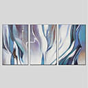 cheap Abstract Paintings-Print Hand Painted - Abstract Modern Stretched Canvas / Three Panels