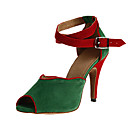 זול נעליים מודרניות-נעליים לטיניות דמוי עור נעלי ספורט קצוות עקב סטילטו מותאם אישית נעלי ריקוד שחור / שקד / ירוק