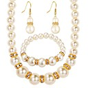 cheap Jewelry Sets-Women's Synthetic Diamond Jewelry Set - Imitation Pearl, Imitation Diamond Ball Classic, Fashion Include Drop Earrings / Necklace Gold / Silver For Gift / Daily
